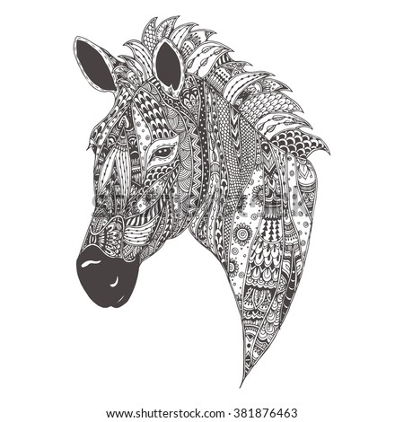 Zebra With Ethnic Floral Doodle Pattern Coloring Page