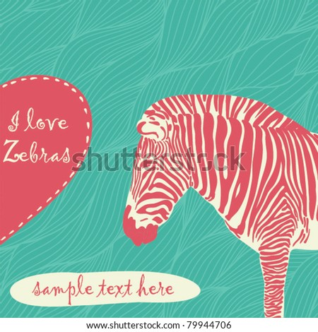 zebra with place for text - stock vector