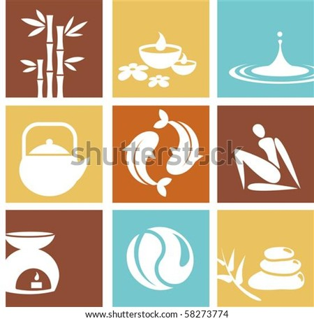 Zen and spa icons - stock vector