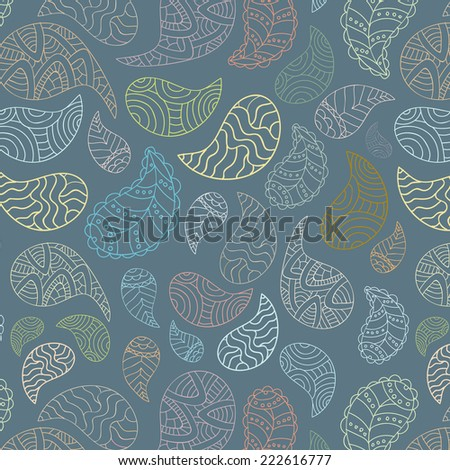 Zen art and paisley inspired doodle abstract vector seamless pattern/background made in rain, marine or sea theme