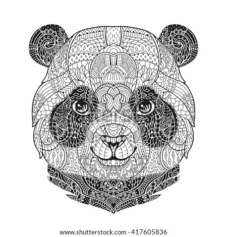 Zen art panda animal portrait in zentangle style for the adult anti stress coloring book