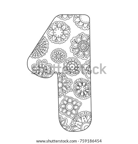 Zen Coloring Book For Adults Number One Figure 1 Tangle Pattern Floral Ornament Vector