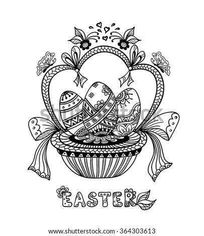 Zen Doodle Easter Eggs In Basket Black On White For Coloring Page Or Relax Book