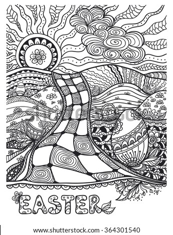 Zen Doodle Easter Landscape With Eggs Rabbits Black On White For Coloring Page Or Relax