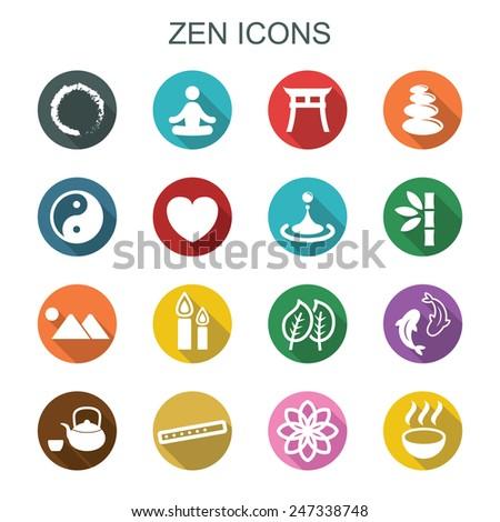zen long shadow icons, flat vector symbols - stock vector