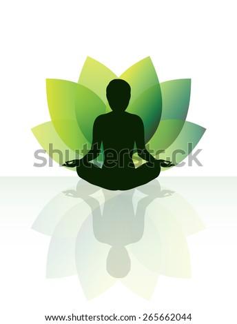 Zen yoga meditation silhouette in lotus pose. - stock vector