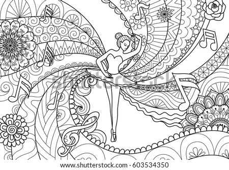 Zendoodle Design Ballet Dancer Adult Coloring Stock Vector ...