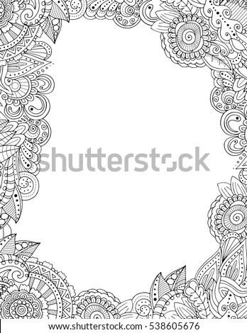 Zendoodle Postcard Template Floral Border Frame Stock