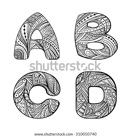 Zendoodle style vector graphic. letters A, B, C, D - stock vector