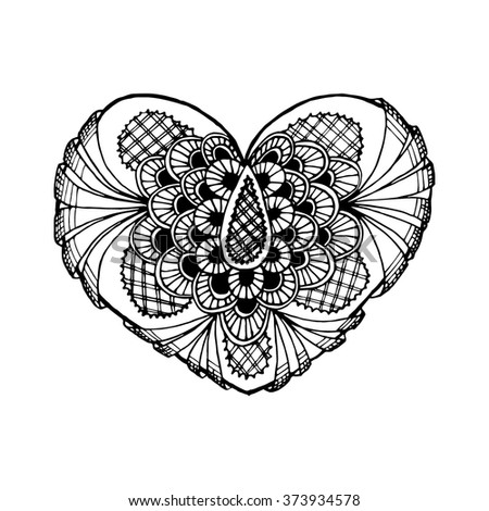 Zentange heart. Black and white heart. Doodle heart