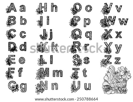 zentangle abc hand drawn letters - stock vector