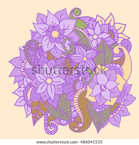 Zentangle abstract flowers. Doodle flower. Vector illustration