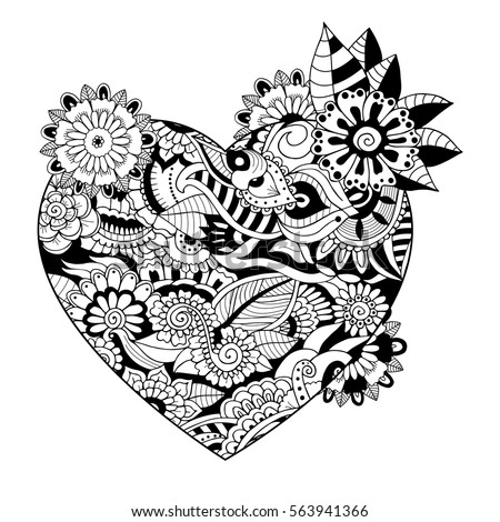 Zentangle Adult Colouring Book Style Heart Stock Vector ...