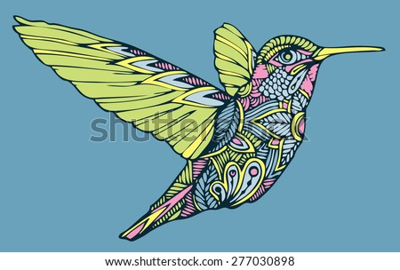 zentangle colourful vector hummingbird  - stock vector