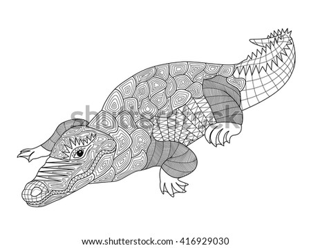 zentangle crocodile coloring pages for adults and children vector illustration of a model rich