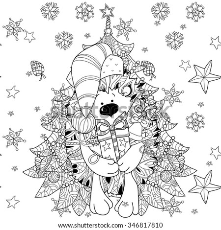 Zentangle doodle hand drawn christmas hedgehog with gift box on white background. Christmas vector sketch isolated.Seamless pattern. - stock vector