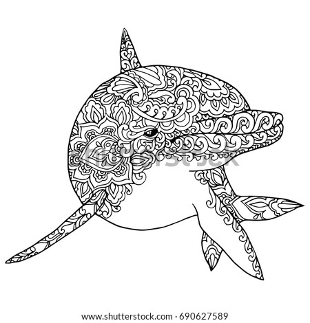 Zentangle Doodle Patterned Fantasy Dolphin Isolated Stock
