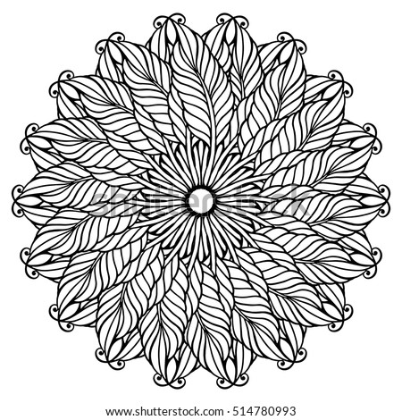 Zentangle Feather Mandala Page For Adult Colouring Book Vector Design Element Ornamental Round