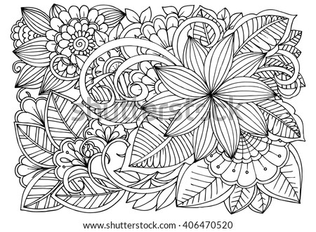 Black White Floral Doodle Coloring Pages Stock Vector 364152395