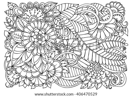Zentangle floral doodles black white coloring stock vector Relaxing coloring books for adults