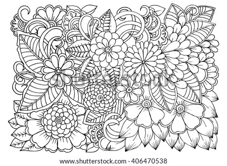 zentangle floral doodles in black and white coloring pages for adult relaxing job - Relaxing Coloring Pages