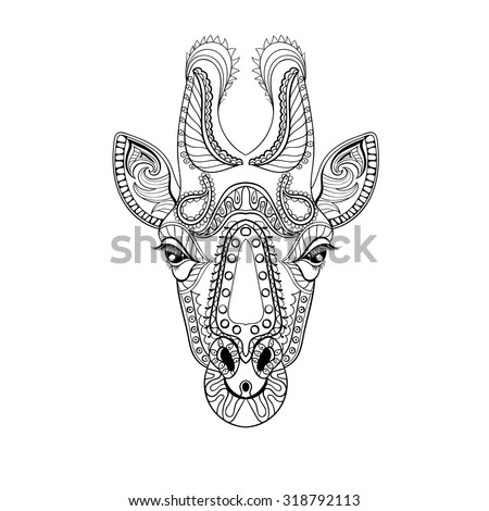 Zentangle Giraffe Head Totem For Adult Anti Stress Coloring Page Art Therapy Illustration In