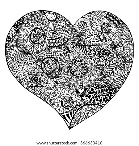 doodle heart coloring page vector line doodle stock vector 440219746 4277