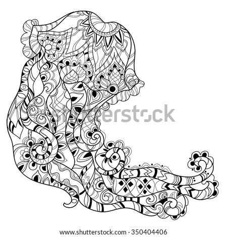 Zentangle Jellyfish Doodle Hand Drawn Vector Stock Vector 350404406
