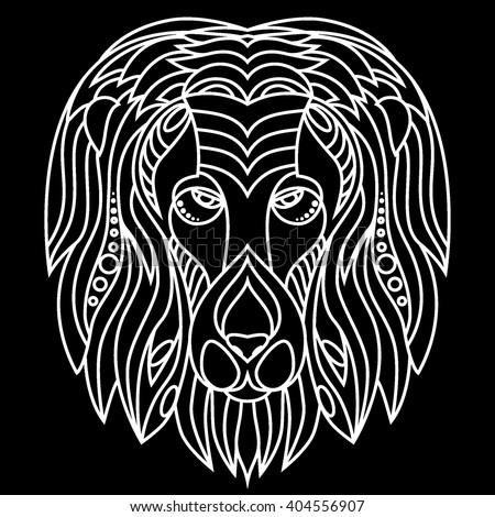 Zentangle lion's head. Florid ornament . Black and white background . Isolated lion's face. icon. line art . flat style