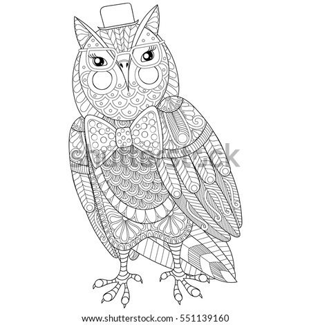 Zentangle Owl Painting For Adult Anti Stress Coloring Page Book Bird With Glasses