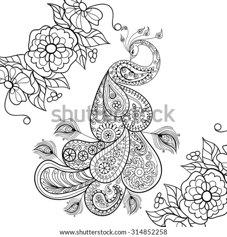 Zentangle Peacock totem in flowersfor adult anti stress Coloring Page for art therapy, illustration in doodle style. Vector monochrome sketch with high details isolated on white background. - stock vector