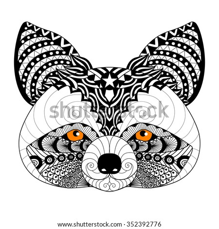 Zentangle Raccoon For Coloring Page Adulttattoo Logo Shirt Design And Other