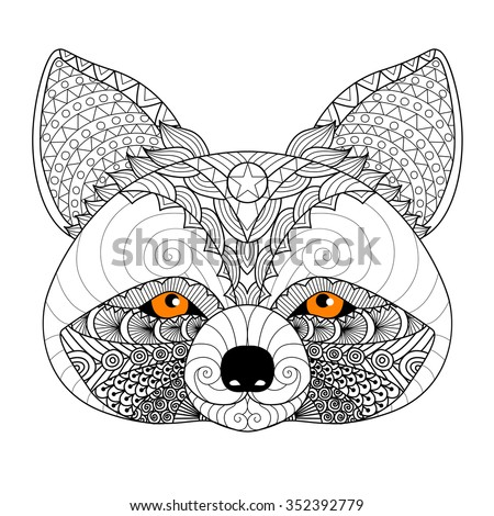 zentangle raccoon for coloring page for adulttattoo logo shirt design and other - Racoon Coloring Page