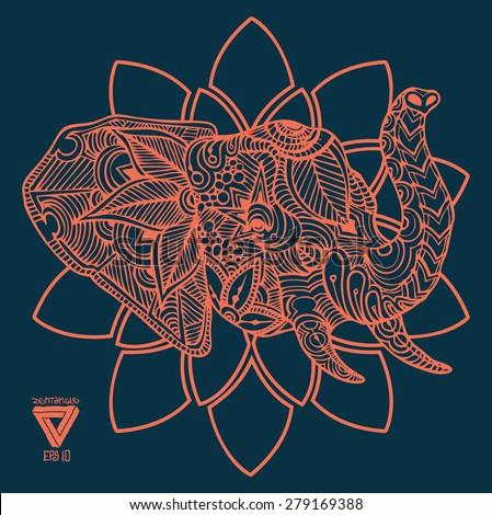 zentangle sacred geometry lineart vector elephant  - stock vector