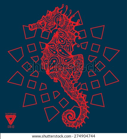 zentangle sacred geometry lineart vector seahorse