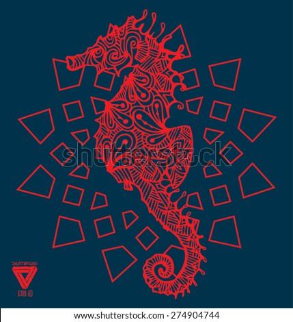 zentangle sacred geometry lineart vector seahorse - stock vector