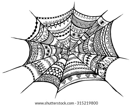 zentangle spider web halloween zentangle illustration autumn vector image can be used for web - Spider Web Halloween