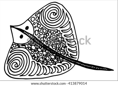 zentangle stingray totem for adult anti stress coloring page for art therapy in doodle