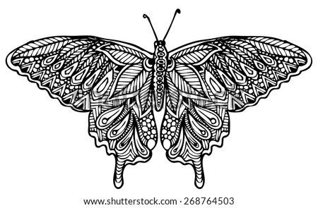 zentangle style butterfly vector