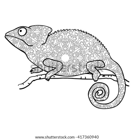 Zentangle Style Chameleon Stylized Vector Animal Isolated On White Coloring Page For Adults