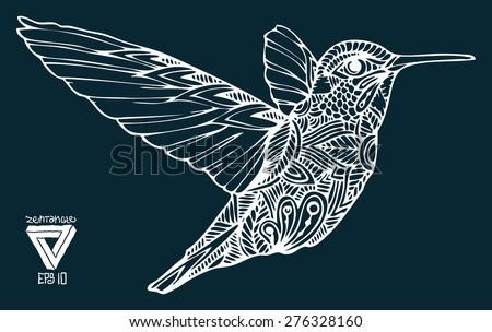 zentangle style hummingbird vector illustration - stock vector