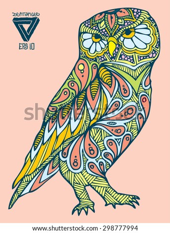 zentangle style owl vector - stock vector