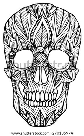 zentangle style skull vector - stock vector