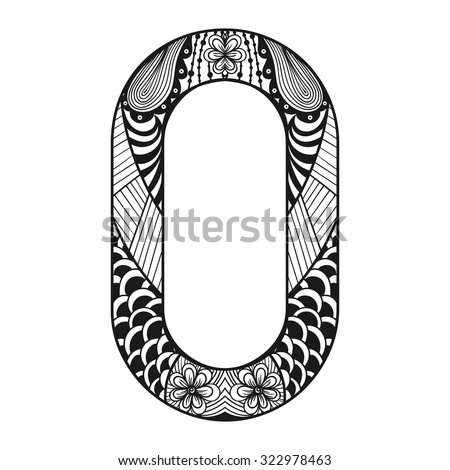 Lace Letter O In Doodle Style Hand Drawn Sketch Font
