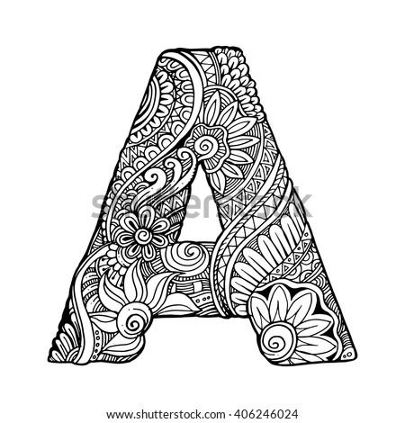 Zentangle Stylized Alphabet Letter D Vector Stock Vector The Latter S Color