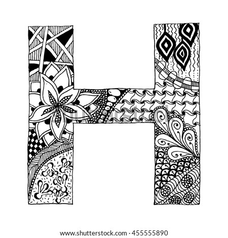 Zentangle Stylized Alphabet Letter H In Doodle Style Hand Drawn Sketch Font Vector