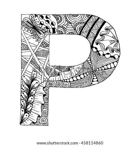 Zentangle letters stock images royalty free images for Letter p coloring pages