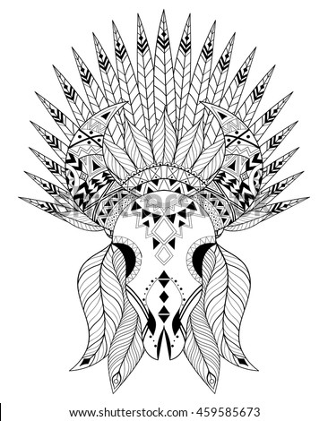 Zentangle Stylized Animal Skull With Warbonnet Hand Drawn Ethnic Tattoo For Adult Coloring Pages