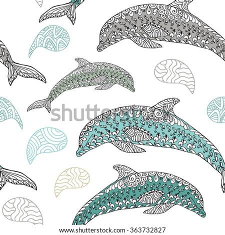 Zentangle stylized animal vector seamless pattern/background with dolphins. Doodle elements might be used as decorative fabric or case print