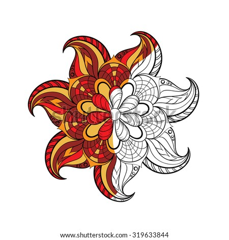 Zentangle stylized Arabic, Indian round Mandala for adult coloring page . Hand drawn vintage Ornament Pattern on white background. Ethnic decorative elements. Yoga spirit. - stock vector